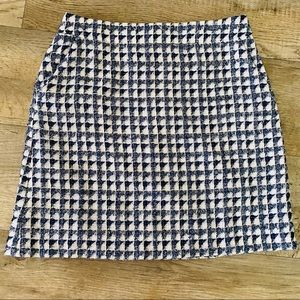 Loft Tweed Mini Skirt Blue & White Triangles